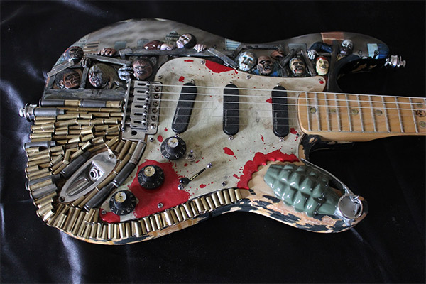 the walking dead guitar. Black Bedroom Furniture Sets. Home Design Ideas