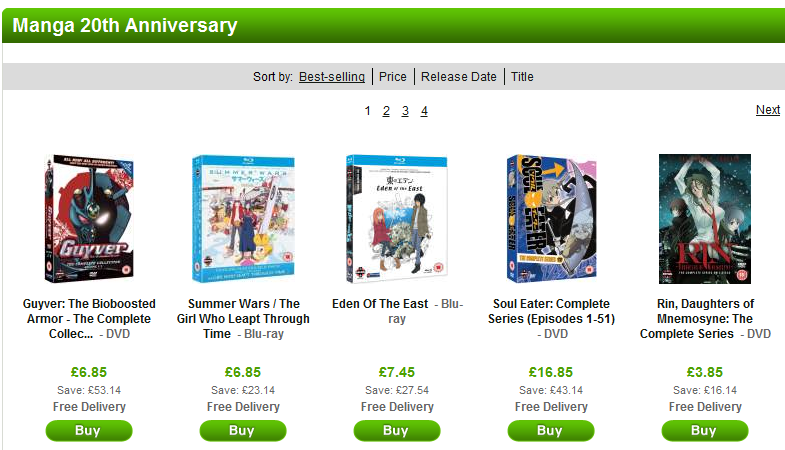 Big anime sale as Zavvi celebrate Manga's 20th anniversary