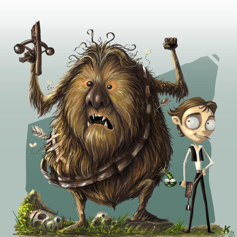 Tim Burton inspired Han and Chewbacca