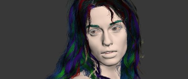 Cyberpunk 3D hair 3