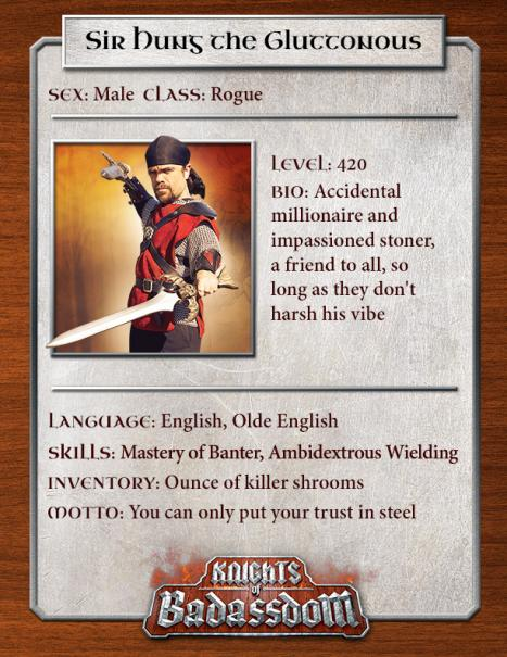 Official character sheets for the Knights of Badassdom