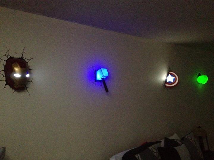 Superhero week avengers 3d wall lights wall lights set mozeypictures Gallery