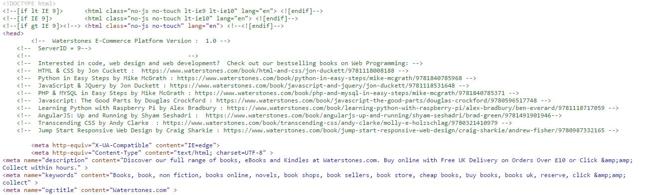 Waterstones code