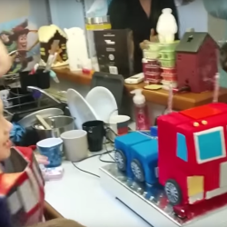Optimus Prime cake is actually a Transformer