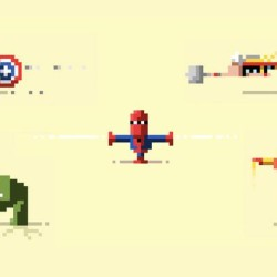 Tiny pixel heroes; Avengers, He-Man and Adventure Time