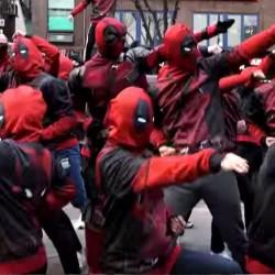 Deadpool flash mob street Taekwondo