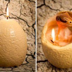 Dinosaur melting candles