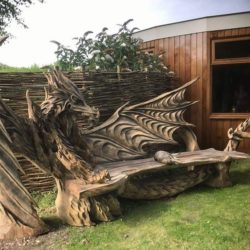 Chainsaw carved dragon bench