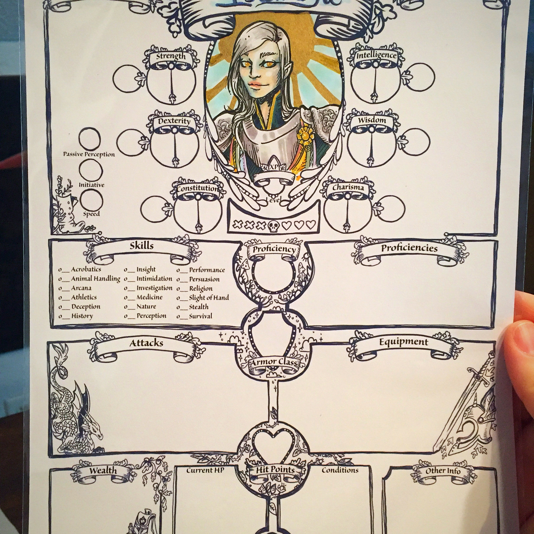 Artful D&D and RPG custom character sheets from Jillian of