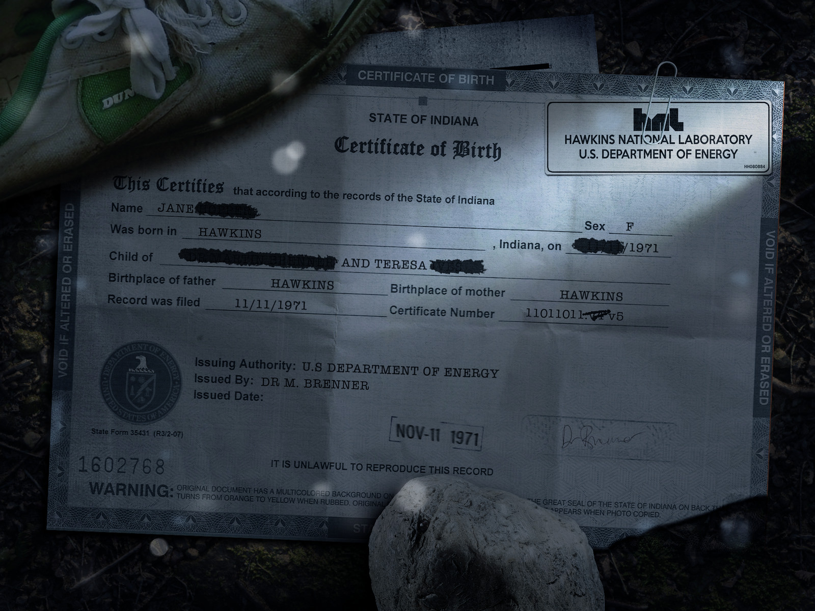 Eleven's Birth Certificate