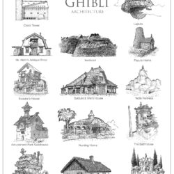 Hand-drawn architecture for Studio Ghibli