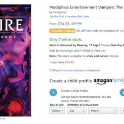 Vampire the Masquerade 5e on Amazon for twice the recommended price