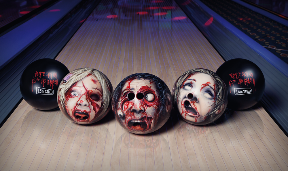 Zombie heads as bowling balls