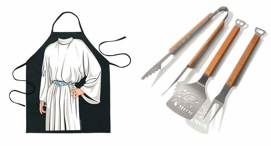Princess Leia apron and mom bbq boss utensils