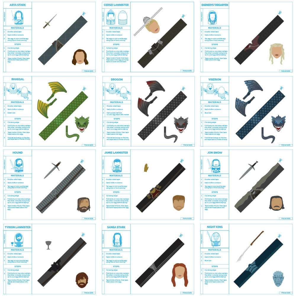 Game of Thrones egg cosplay print outs