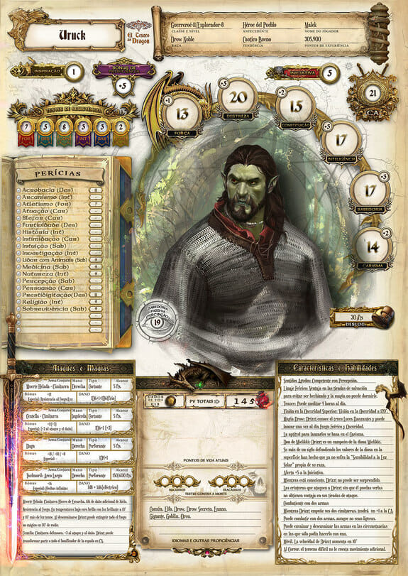 These custom Dungeons & Dragons character sheets are a work