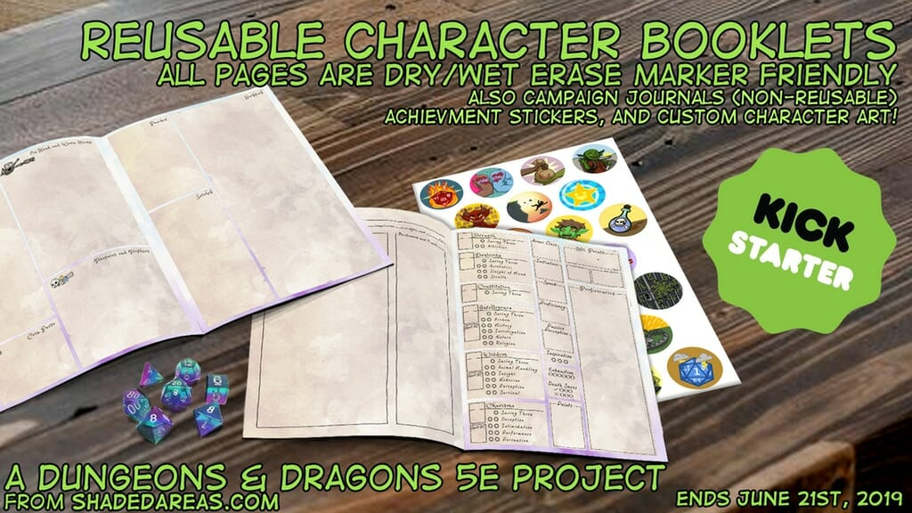 D&D Character Packs: Dry/Wet Erase character sheets and more