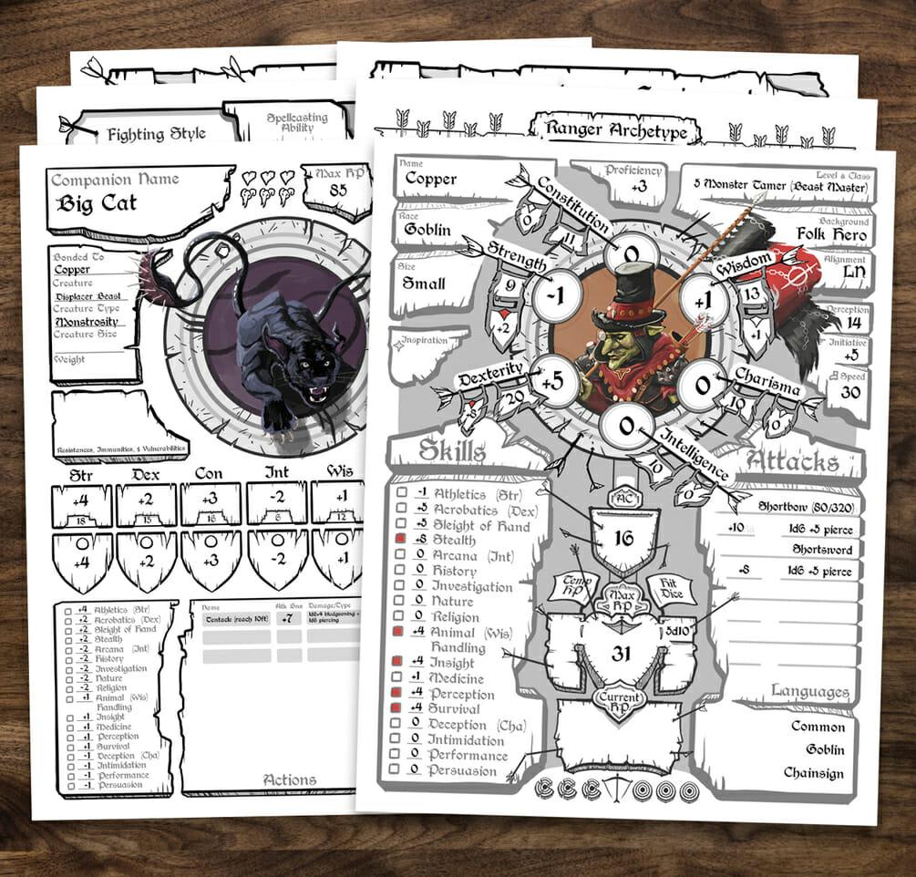 Ranger  5e D&D character sheet