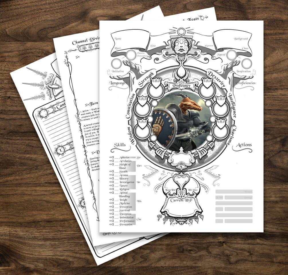 Cleric  5e D&D character sheet