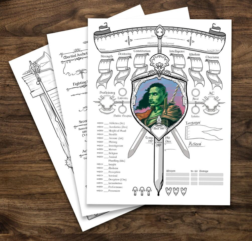 Fighter  5e D&D character sheet