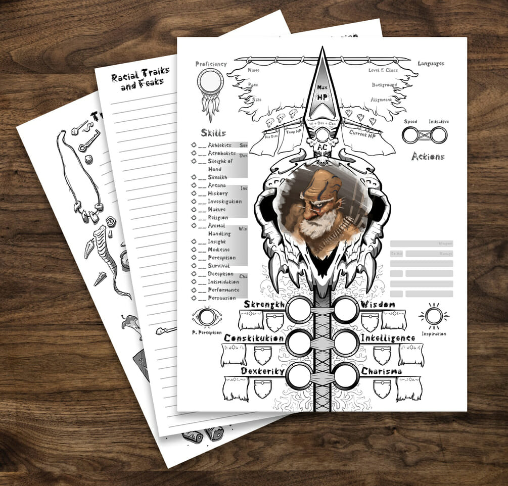 Barbarian  5e D&D character sheet