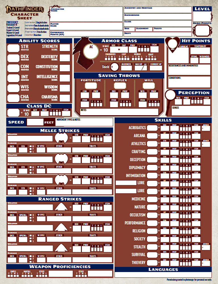 Here's what the Pathfinder 2e character sheet looks like