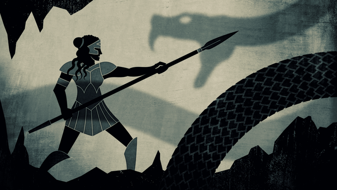 Agon warrior takes on a giant snake