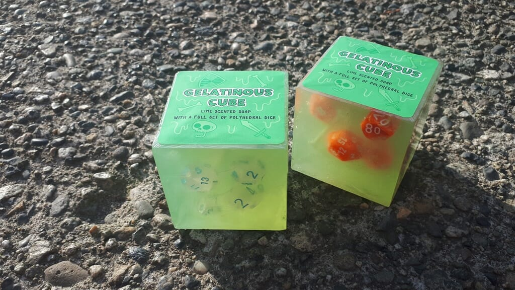 These Gelatinous Cube soaps have polyhedral dice inside