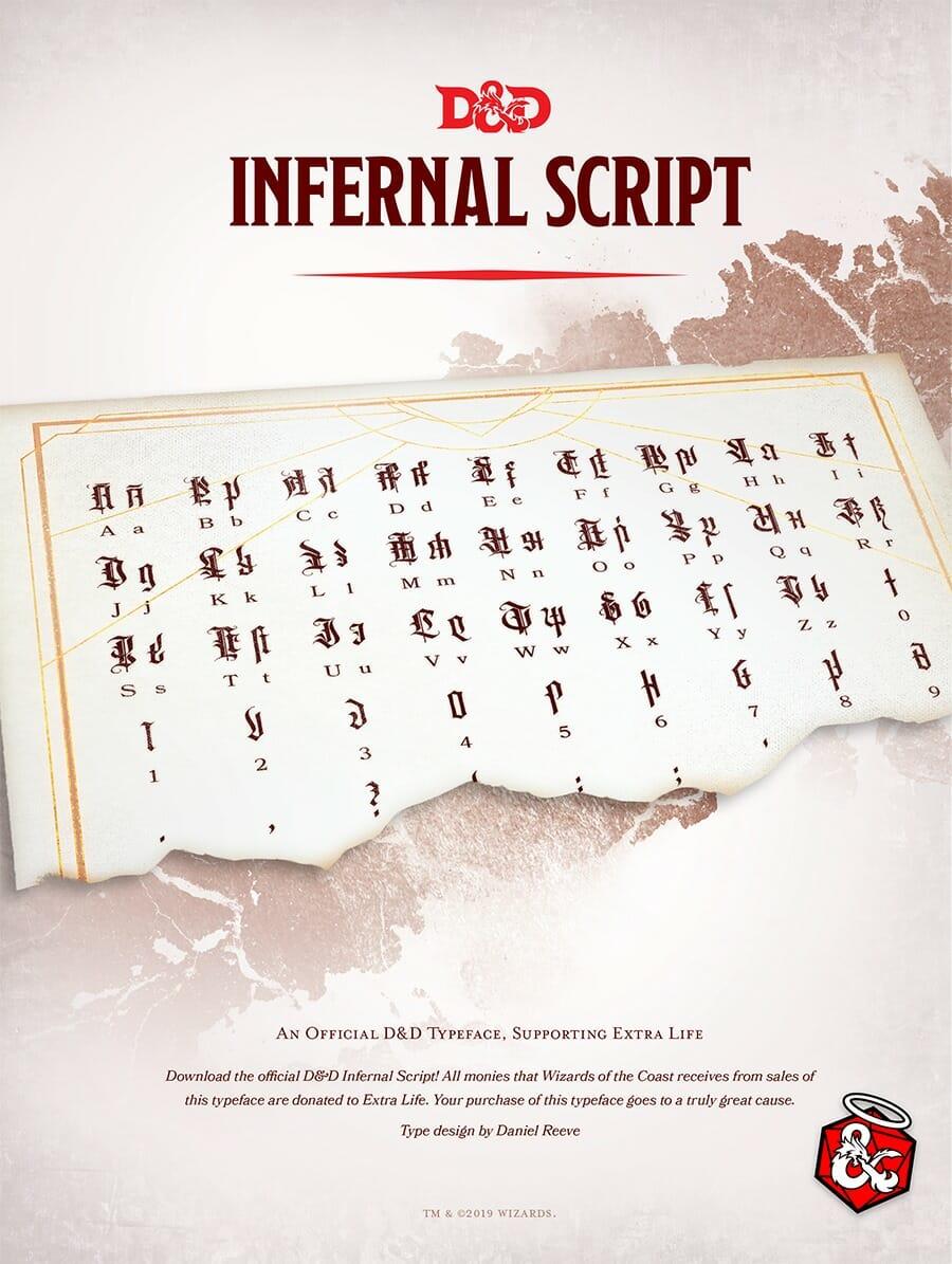 WotC issue official $10 D&D Infernal Script fond for charity